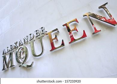 BEIJING-APRIL 6. Alexander McQueen logo on fashion store. Lee Alexander McQueen, (17.03.1969 -? 11.02.2010) was a British fashion designer with in-depth knowledge of tailoring. Beijing, April 6, 2012