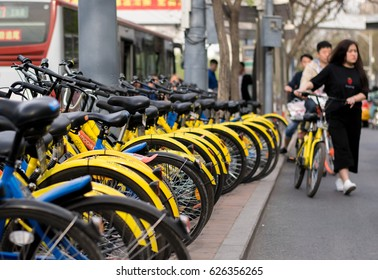 BEIJING,CHINA -  23 APRIL 2017: Ofo Bicycles in Beijing, China. Ofo is a popular bike sharing platform where users grab bikes through an app in many cities in China