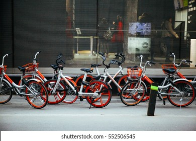 BEIJING,CHINA 6 JANUARY 2017: Mobike Bicycles in Beijing, China. Mobike is a popular bike sharing platform where users grab bikes through an app in many cities in China