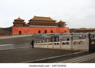 Beijing/China - April 24th, 2019: Courtyard of The Hall of Supreme Harmony (Tai He Dian) with some tourist after the rain, located inside the Forbidden City
