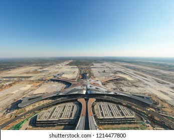Beijing,China - Oct 1,2018:Aerial view of Beijing daxing international airport construction site
