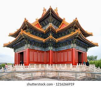 Beijing,China - OCT 2017 : Turret of The Palace Museum(forbidden city), the inside view shows the colorful and detailed architectural details of the turret