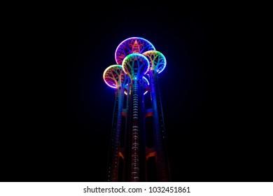 Beijing/China - September 05 2015 : Tower in Olympic park in Beijing