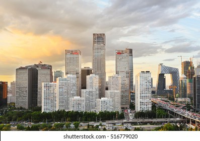 Beijing,China - September 9, 2016: High angle view of Beijing CBD Skyline at sunset.Beijing CBD buildings located in Chaoyang District,opposite the World Trade Center.
