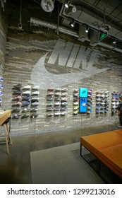 BEIJING.China-APR,25,2018;nike store interior display.Famous sports fashion brands worldwide and it is one of the world's largest suppliers of athletic shoes and apparel.It's the first brand in China