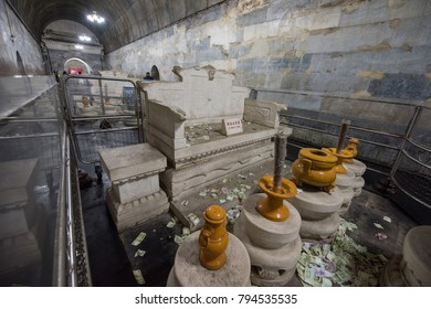 Beijing,China-August7,2016:The Ming tombs,collection of mausoleums built by the emperors of the Ming dynasty of China.
