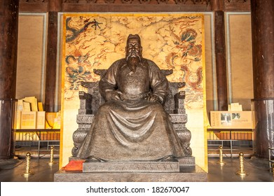 BEIJING,CHINA-MARCH 30 ,2011:Detail of Historic Architecture and statue of the Hall of Central Harmony at Changling Tomb of Ming Dynasty Tombs in Beijing, China - A UNESCO World Heritage Site.
