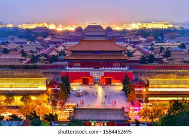 Beijing,China-November 2,2019:Overlooking The Door northgate Palace of the Forbidden City at twilight in Beijing, China.