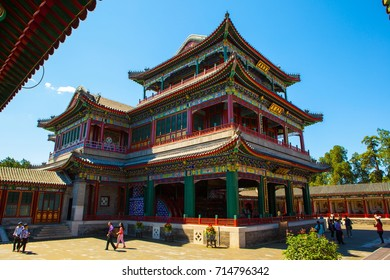 BEIJING/CHINA-SEP12: Great stage of Summer Palace on Sep12,2015 in Beijing, China. It was  the largest stage in Qing dynasty.  Summer Palace was royal garden.
