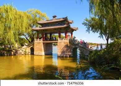 BEIJING/CHINA-SEP12: Youfeng bridge of Summer Palace on Sep12,2015 in Beijing, China. Summer Palace was royal garden.