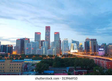 Beijing-China-September 2 , Beijing city center, the office building of CBD , night view, on September 2, 2015 Be ijing, China