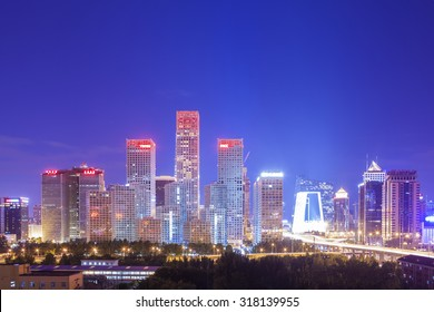Beijing-China-September 2 , Beijing city center, the office building of CBD , night view, on September 2, 2015 Beijing, China