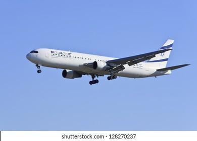 BEIJING-DEC. 9: Boeing 767-330ER, 4X-EAJ from El Al Israel Airlines landing. A two-engined medium-to-long-range widebody airliner with a capacity of maximum 351 passengers. Beijing, Dec. 9, 2012.