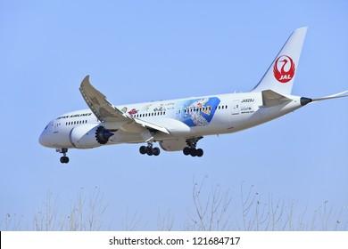 BEIJING-DEC. 9. Boeing 787-846 Dreamliner JA828J from Japan Airlines landing. March 26, 2012 Boeing  celebrated the delivery of Japan Airlines its first two 787 Dreamliners. Beijing, Dec. 9, 2012.