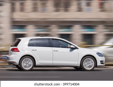 BEIJING-MARCH 30, 2016. White Volkswagen Golf. Volkswagen world-wide sales declined in 2015 for the first time since 2002 in the wake of an emissions-cheating scandal that hit the company recently.
