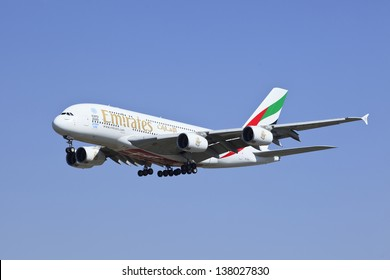 BEIJING-MAY 10. Emirates Airbus A380-861 A6-EDR landing. Double-deck, wide-body, four-engine jet airliner. The world's largest passenger airliner designed to challenge Boeing. Beijing, May 10, 2013.