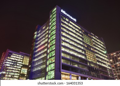 BEIJING-NOV. 14. Microsoft headquarters at twilight. Its Chinese research headquarters in Zhongguancun Science & Technology Zone costs $280 million accommodates 5000 employees, Beijing, Nov. 14, 2013.