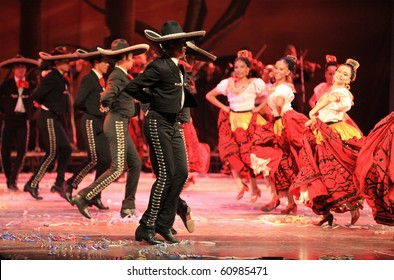 BEIJING-SEP 14: Artists from Amalia Hernandez' Folkloric Ballet of Mexico perform on stage at the Beijing Exhibition Theater on Sep 14, 2010 in Beijing, China