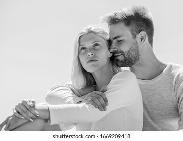 Being in love. understanding and support. romantic relationship. couple in love. married in heaven. man and girl smiling. he make her happy. happy to be together. they love each other.