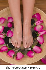 Being pampered by beautiful aromatic pink roses and therapeutic herbal water bath