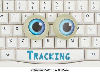 Being tracked on the internet with blue googly eyes on a keyboard