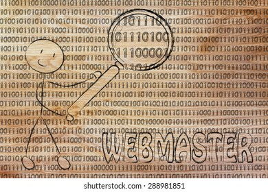 being a webmaster: man checking binary code with a magnifying glass