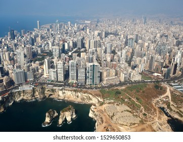 Beirut, Aerial View of the city and its famous Pigeon Rocks - Lebanon