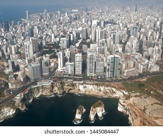 Beirut - Aerial view of the Lebanese Capital looking over Pigeon Rocks