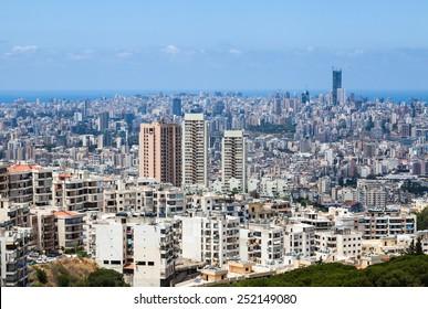 Beirut cityscape, Lebanon. Apartment buildings and city blocks in Beirut - capital of Lebanon.