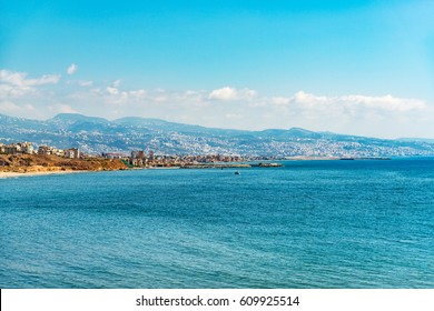 Beirut Coast Landscape in Beirut, Lebanon viewed form Raouche.