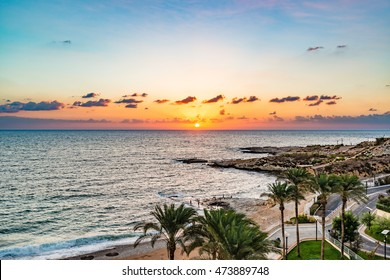 Beirut Coast Landscape in Raouche, Beirut, Lebanon at sunset.