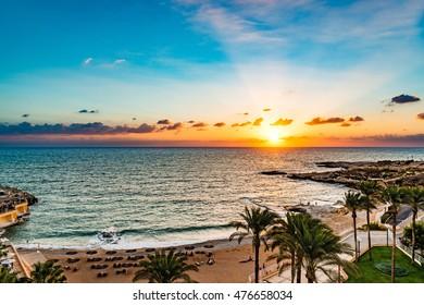 Beirut Coast Landscape in Raouche, Beirut, Lebanon at sunset.