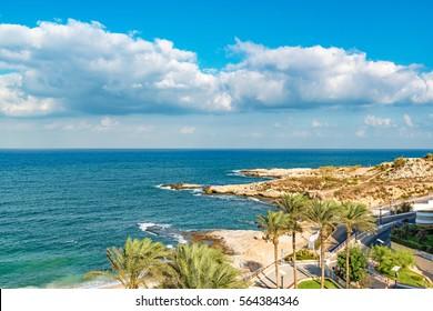 Beirut Coast Landscape in Raouche, Beirut, Lebanon.