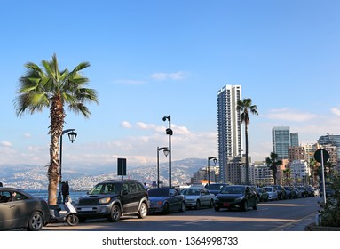 Beirut Corniche, view from the sea all the way to the snow covered mountains.