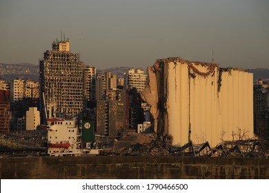 Beirut destruction caused by port of Beirut explosion, August 5,2020: Beirut Downtown