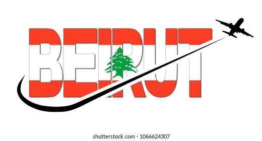 Beirut flag text with plane silhouette and swoosh illustration