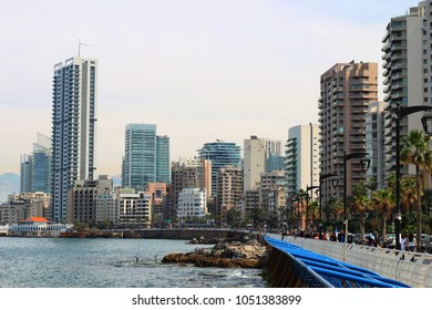 Beirut, Lebanon- 03 20 2018 people enjoying the early warm days during spring at Manara, Beirut's coastline