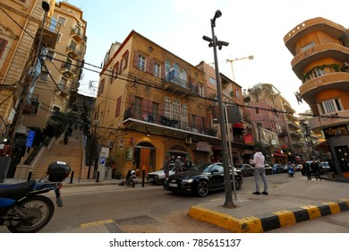 Beirut, Lebanon - 12.29.2017: City life in the up and coming Mar Mikhael district just off central Beirut.