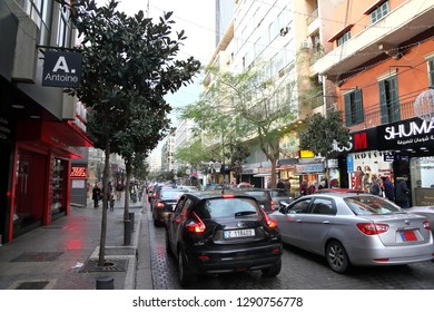 Beirut, Lebanon- 12/29/2018: the hustle and bustle in the famous Hamra Street in Beirut.