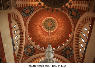 Beirut, Lebanon, 17.05.2014: Stunning Interior of a lebanese Mosque in Beirut. Featuring incredible islamic letter art and a majestic chandelier.