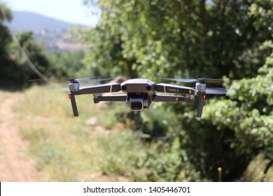 Beirut, Lebanon - 5/18/2019: DJI Mavic 2 pro hovering in nature with hasselblad camera