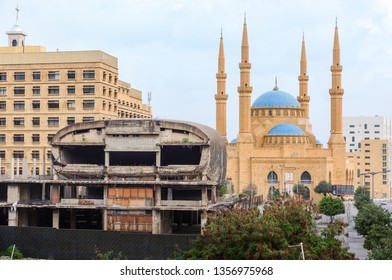 BEIRUT, LEBANON - 9 Mar 2018: The Egg cinema building and Al-Amine blue mosque in Downtown Beirut, Lebanon
