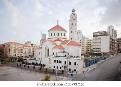 BEIRUT, LEBANON - 9 Mar 2018: Saint Elias and Saint Gregory the Illuminator Armenian Catholic Cathedral in Beirut, Lebanon