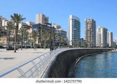 BEIRUT, LEBANON - APRIL 11, 2019 - View of the Corniche promenade in Beirut, Lebanon