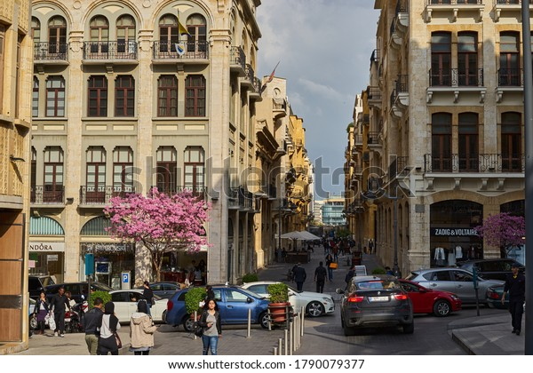 BEIRUT, LEBANON -  APRIL, 2017: Downtown. The central district of Beirut with its outdoor cafes, restaurants and designer stores
