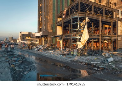 BEIRUT, LEBANON - AUGUST 05 2020: View of destroyed building as the inspection of the scene continue after a fire at a warehouse with explosives at the Port of Beirut led to massive blasts in Beirut