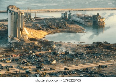 BEIRUT, LEBANON - AUGUST 05 2020: Aerial view of Beirut Port completely destroyed as the inspection of the scene continue after a fire at a warehouse with explosives  led to massive blasts in Beirut