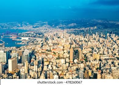 BEIRUT, LEBANON - August 13, 2016: Aerial photography of Beirut in Lebanon.