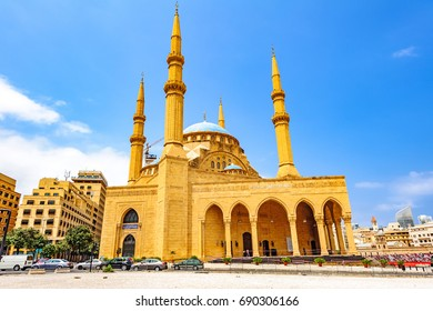 BEIRUT, LEBANON - August 15, 2016: Mohammad Al-Amin Mosque in Beirut, Lebanon. It is known as the Blue Mosque.