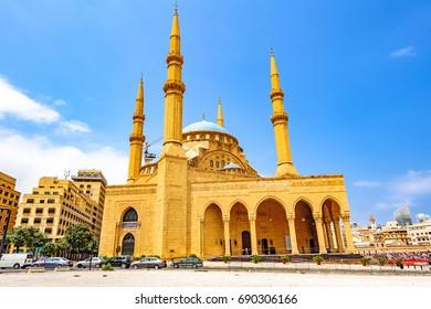 BEIRUT, LEBANON - August 15: Mohammad Al-Amin Mosque in Beirut, Lebanon on August 15, 2016. It is known as the Blue Mosque.